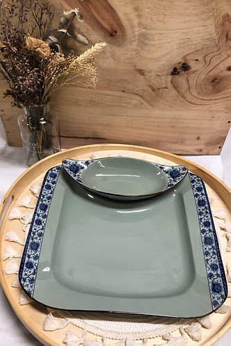 Peony Plate with removable side dish