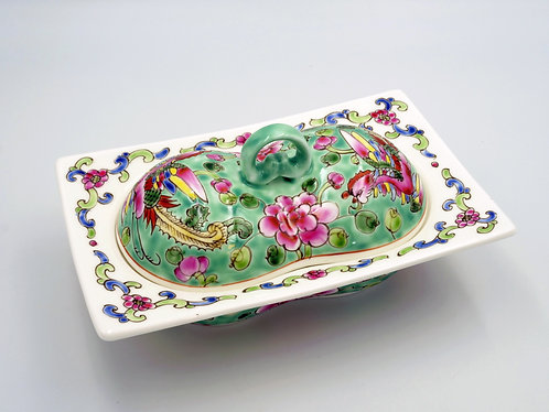 Peranakan peanut shape bowl with lid
