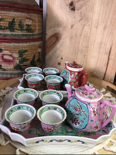Peranakan Teapot Set #E (4 colours)