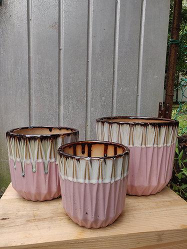 Geometrical Pink Base Glazed Pot (3 Sizes)