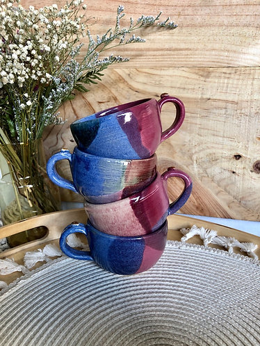 Blue / pink cappuccino cup with handle (4 styles)