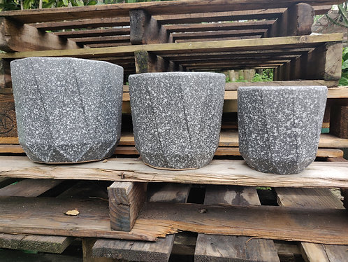 Grey Speckled Stone Pots