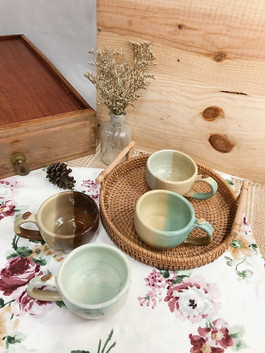 150ml-160ml   matt x overlapping cup with bean ( 4 designs)