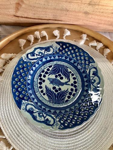 Vintage blue & white printed plate (4 designs)