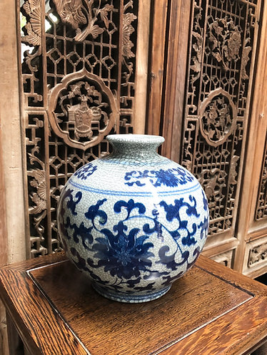 Blue and Grey crackled round vase