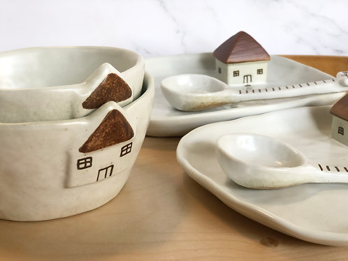 (NEW) House series | Cup, Plate & Spoon (2 SIZES)