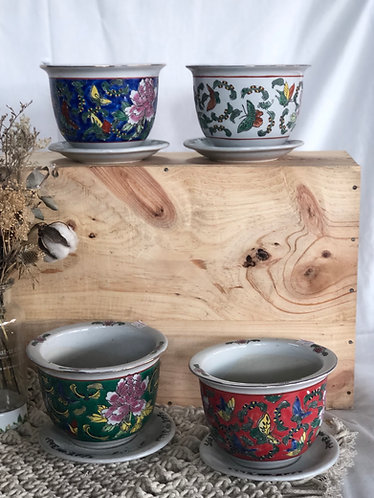 Printed round pot with tray |  5 colours x 5 sizes