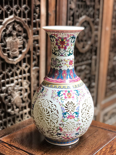 Multi colour x double wall handcarved vase (1pc only)