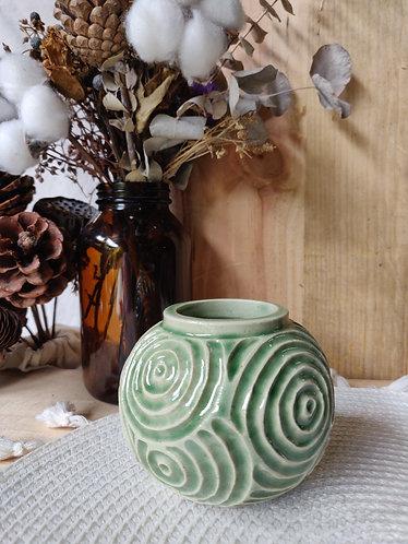 Jade Spiral Hand-carved mini vase