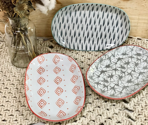 Oval printed plate (3 design)