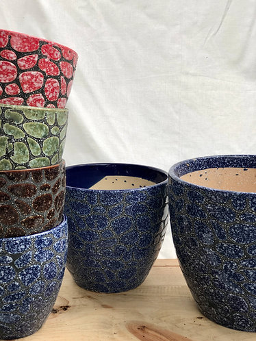 Outdoor texture glazed pot  (4 colours x 3 sizes)