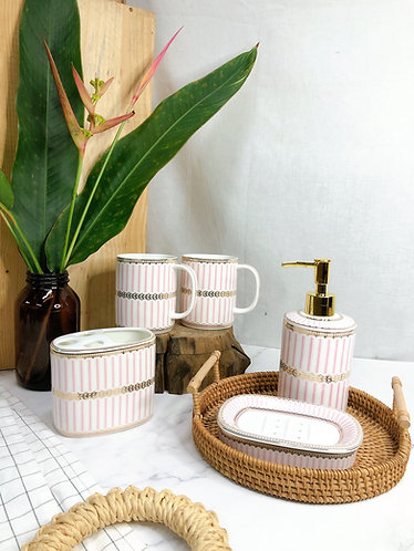 Bathroom set / pink stripes (Normal toothbrush only)