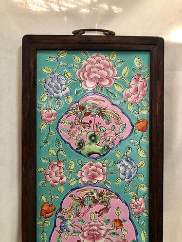 Peranakan long panel with wooden frame (2 colours)