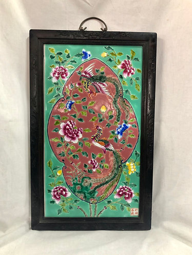 Peranakan panel with wooden frame (4 colours)