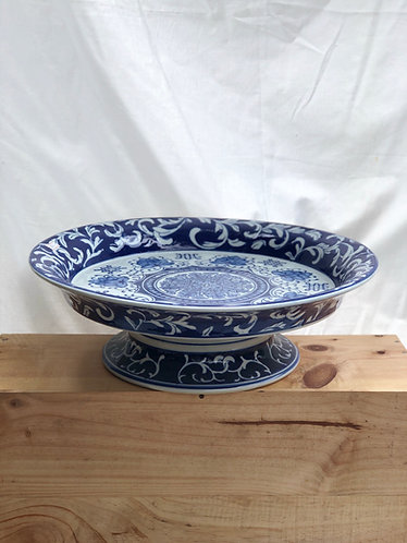 Blue and white plate with stand
