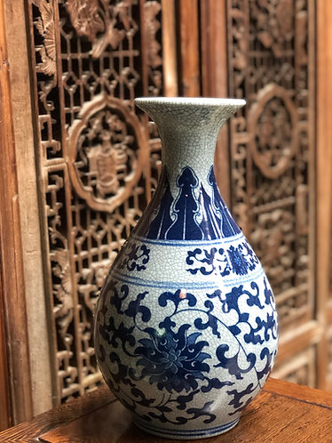 Blue and Grey crackled tall vase