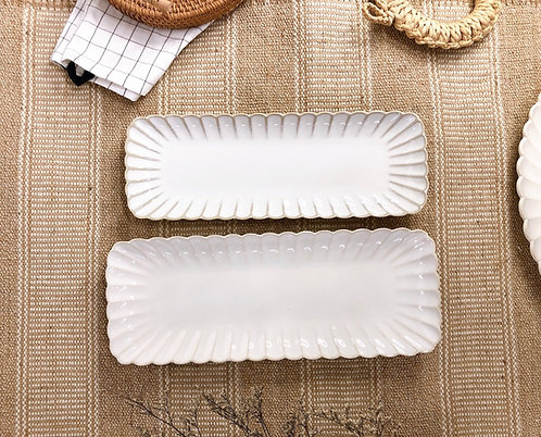 Scallop x white | Rectangle Plate (2 sizes)