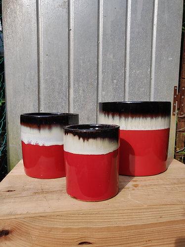 Red Base Brown Drip Glazed Pot (3 Sizes)