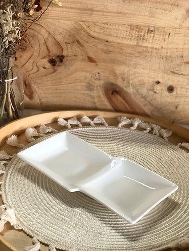 White 2 in 1 square platter