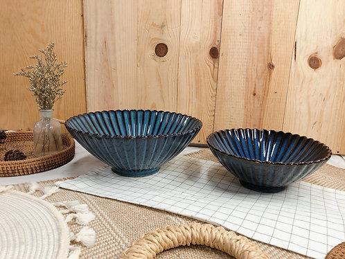 Scallop x blue | V Shape bowl (2 sizes)