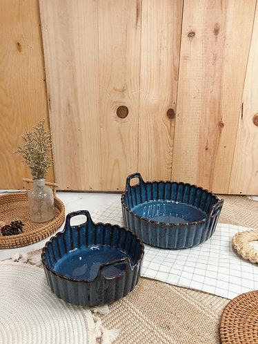 Scallop x blue | Basket with handle (2 sizes)