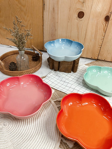 Floral shallow bowls (4 colours)