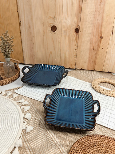 Scallop x blue | square tray with 2 handle (2 sizes)