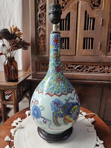 Lion Dancing Colour Vase Lamp