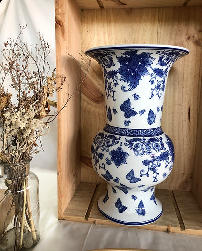 Blue and white x butterfly vase