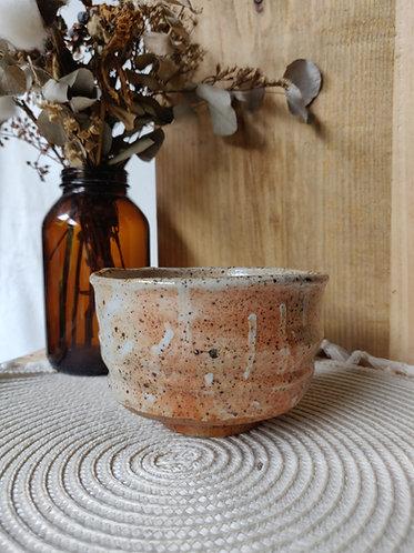 Oatmel Speckled Bowl w Orange flashing