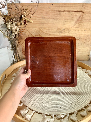 Wooden square plate