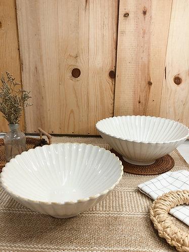 Scallop x white | V Shape bowl (2 sizes)