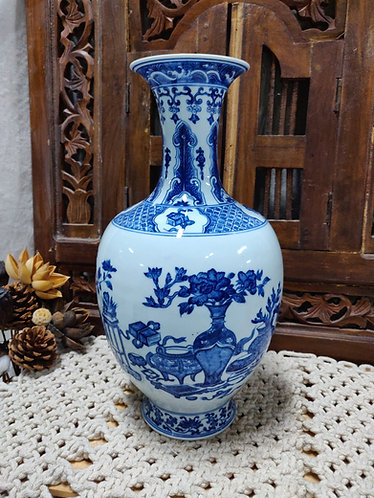 Blue White Treasures & Figures Vase
