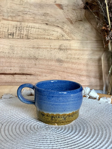 Blue x brown ash glaze cup