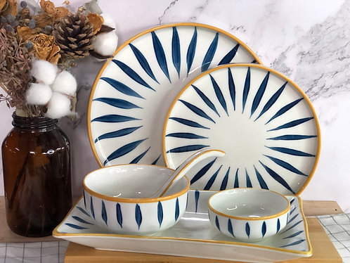 Blue and white x yellow rim table ware
