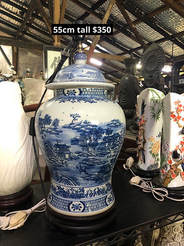 Blue and white scenery lamp