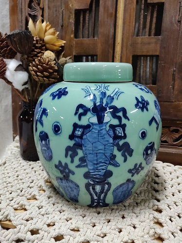 Mint Green Blue Figures Canister