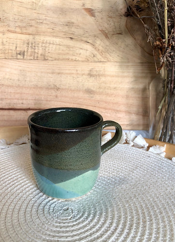 Shades of green x blue glaze cup