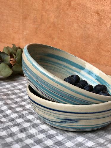 Marbled sky blue bowl