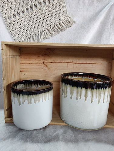 White Drip Glaze Pot (2 Sizes)