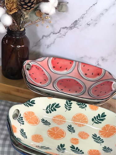 Rect. dish with prints (4 designs)