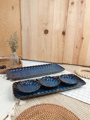 Scallop x blue | Rectangle Plate (2 sizes)