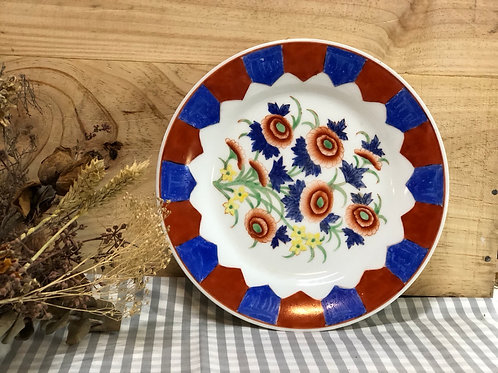 Floral blue & red plate