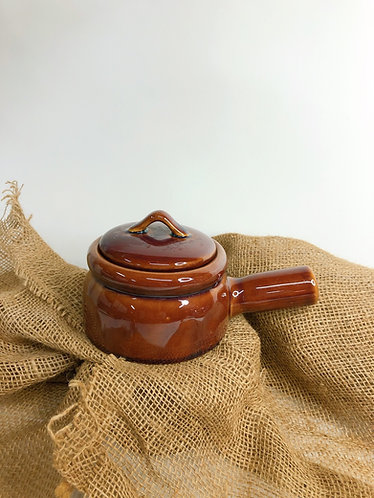 Brown glazed pot with handle