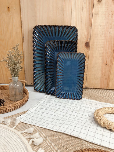 Scallop x blue | Rectangle Plate (3 sizes)