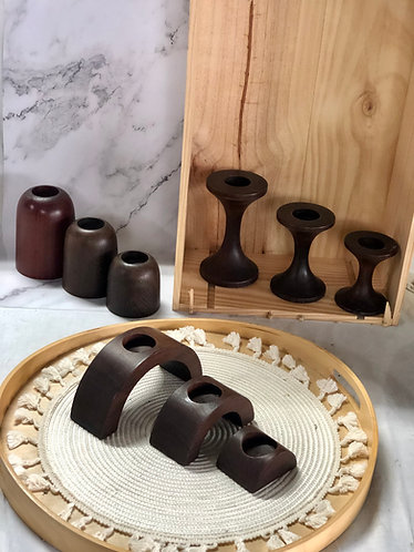 Wooden candle holder (3 sizes x 3 designs)