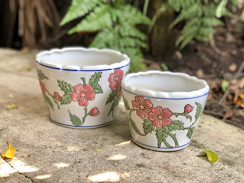 Pink floral outdoor pots ( 2 shapes x 2 sizes)