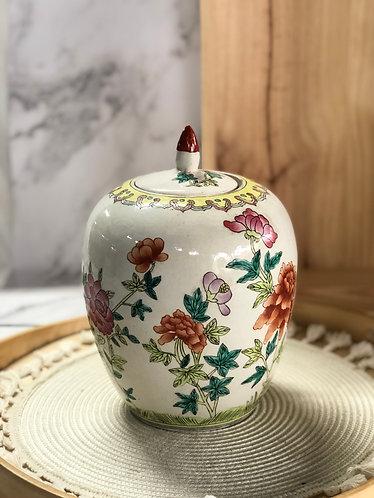 Floral vase with lid