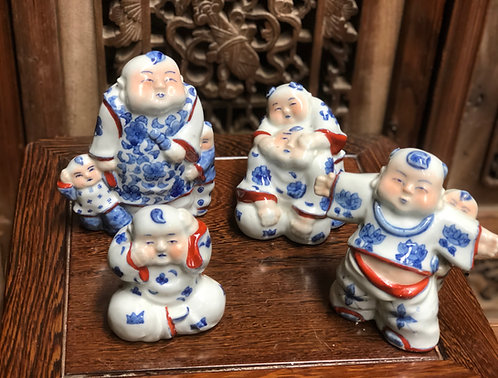 Blue & white + a touch of red figurines
