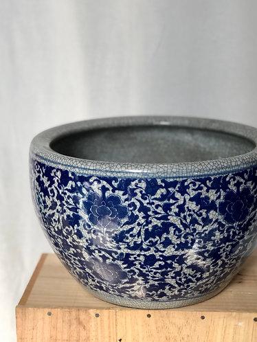 Crackled grey + blue pot